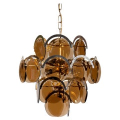 Italy 1960s Brass or Gold Colored and Smoked Glass Chandelier by Gino Vistosi