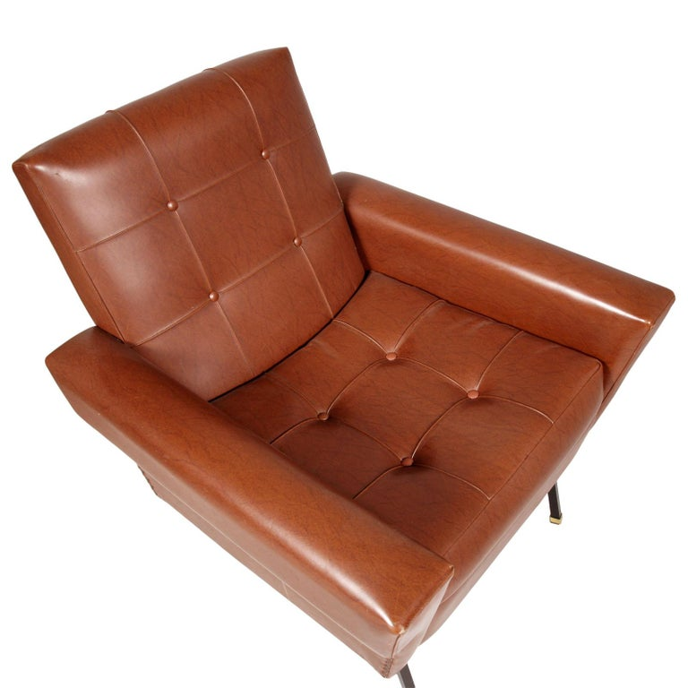 Italy 1960s Cubist armchairs, Rinaldi Mario style, wooden structure, iron legs with aluminium ring, faux leather quilted upholstery. Excellent conditions.  Measures cm: H 45\82, W 73, D 83.