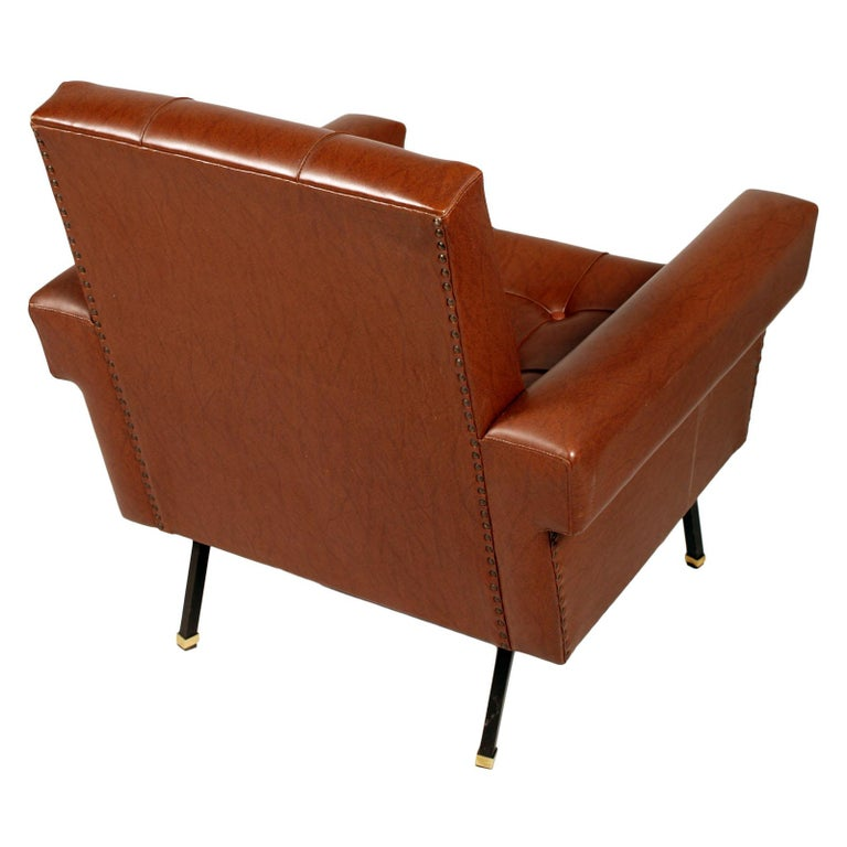 Painted Italy 1960s Cubist Armchairs, Iron Legs, Faux Leather Quilted Upholstery For Sale