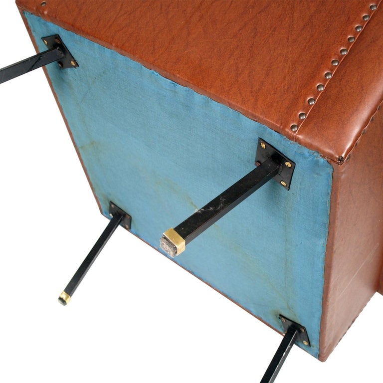 20th Century Italy 1960s Cubist Armchairs, Iron Legs, Faux Leather Quilted Upholstery For Sale