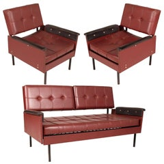 Italy 1960s Cubist Armchairs & Sofa, Iron Legs, Faux Leather Quilted Upholstery