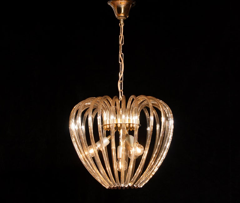 Italian Italy 1960s Partly Gilded and Brass and Crystal Venini Murano Pendant Chandelier For Sale
