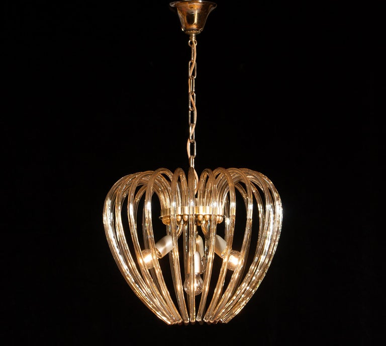 Italy 1960s Partly Gilded and Brass and Crystal Venini Murano Pendant Chandelier For Sale 2