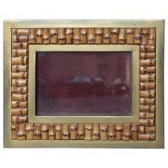 Italy 1970 Gilded Metal Photo Frame with Natural Canes