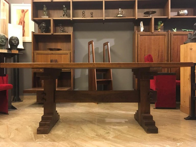 Post-Modern Italy 1970 Officina Rivadossi Solid Walnut Table in Postmodern Style For Sale