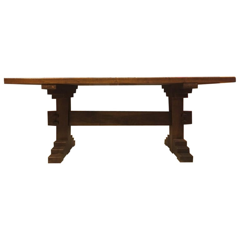 Italy 1970 Officina Rivadossi Solid Walnut Table in Postmodern Style For Sale