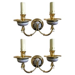 Italy 1970 Pair Post Modern Brass Ceramic Wall Lights in Hollywood Regency Style