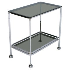 Italy 1970s Minimalist Chrome Steel and Fumè Tempered Glass Trolley Bar Cart