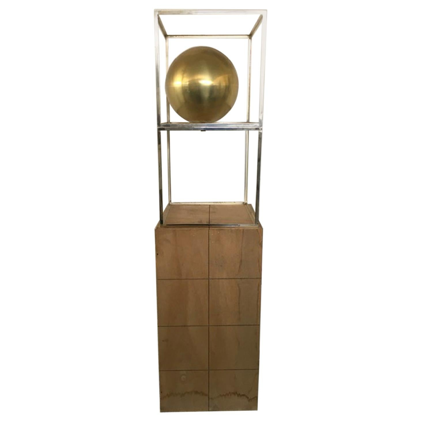 Italy 1980 Abstract Sculpture Sphere in Brass Natural Wood and Metal Chrome