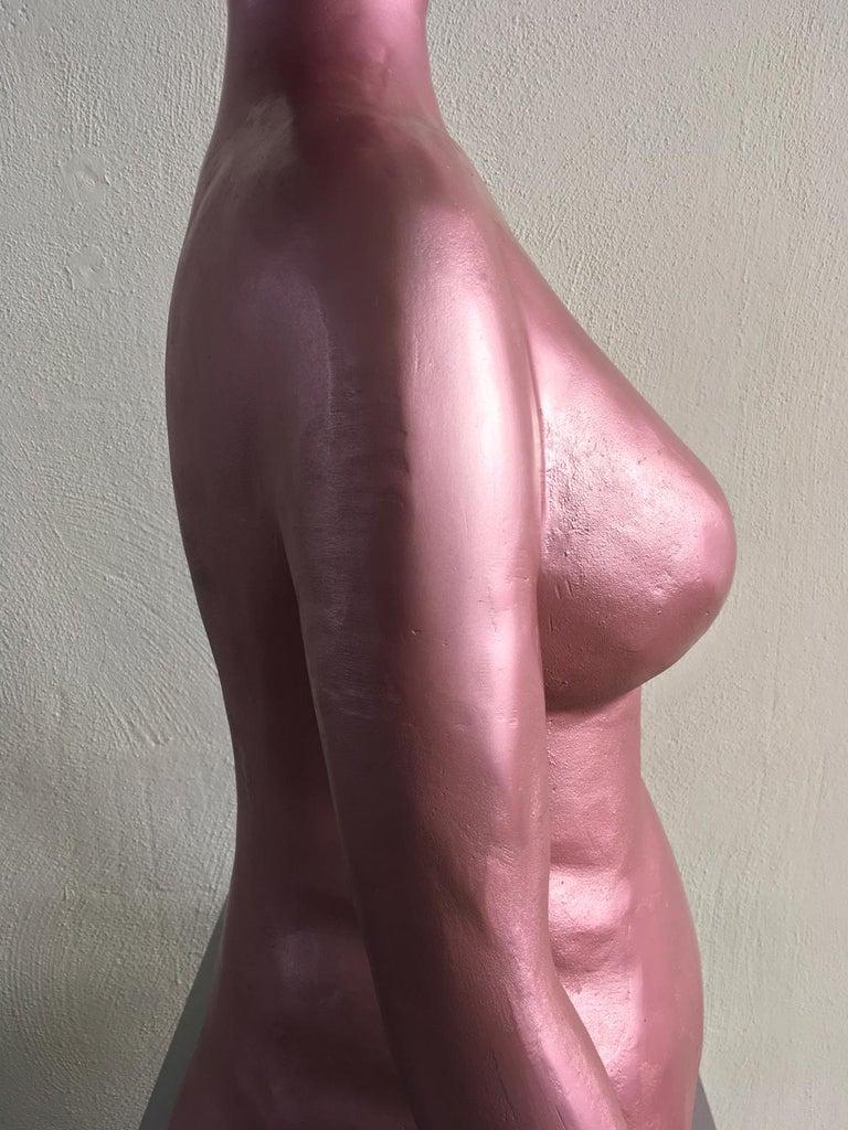 Italy 1980 Figurative Sculpture by Ugo La Pietra Pink Lacquered Aluminium For Sale 1