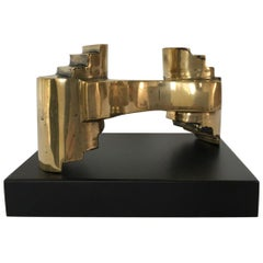 Italy 1985 Abstract Sculpture Solid Brass by Eli Riva