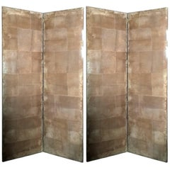 Italy 1990 Post Moder Style Pair of Upholstered Screens in Natural Suede