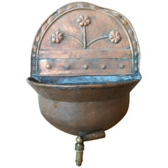 Italy 19th Century Kitchen Copper Wall Planter Pot