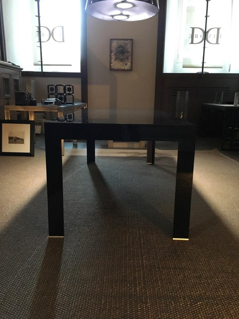 Italy Contemporary Design Black Glass Dining Table in Minimal Style For Sale 5