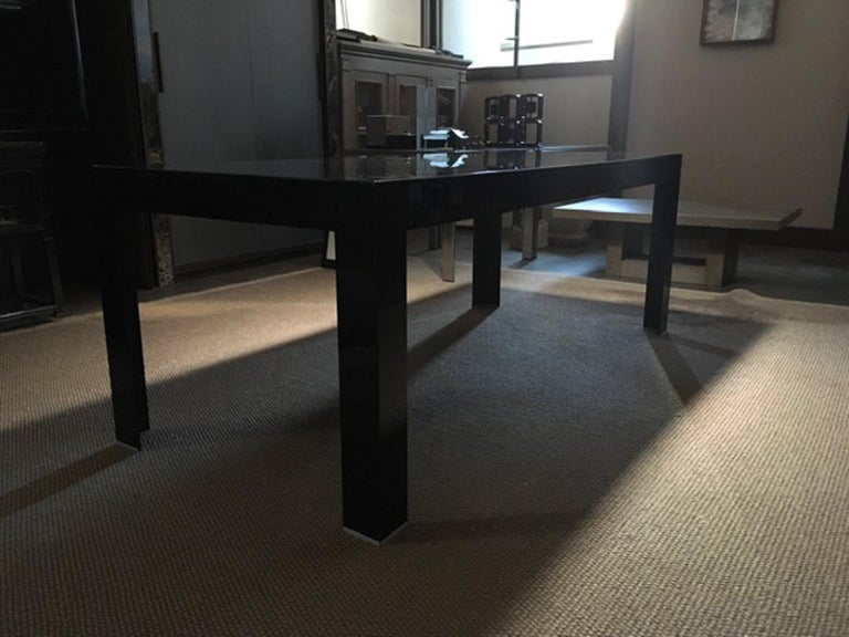 Italy Contemporary Design Black Glass Dining Table in Minimal Style For Sale 14