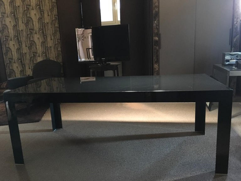 Italy Contemporary Design Black Glass Dining Table in Minimal Style For Sale 15