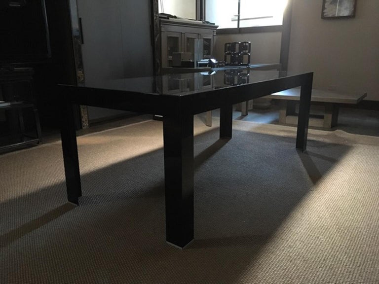 Italy Contemporary Design Black Glass Dining Table in Minimal Style For Sale 1