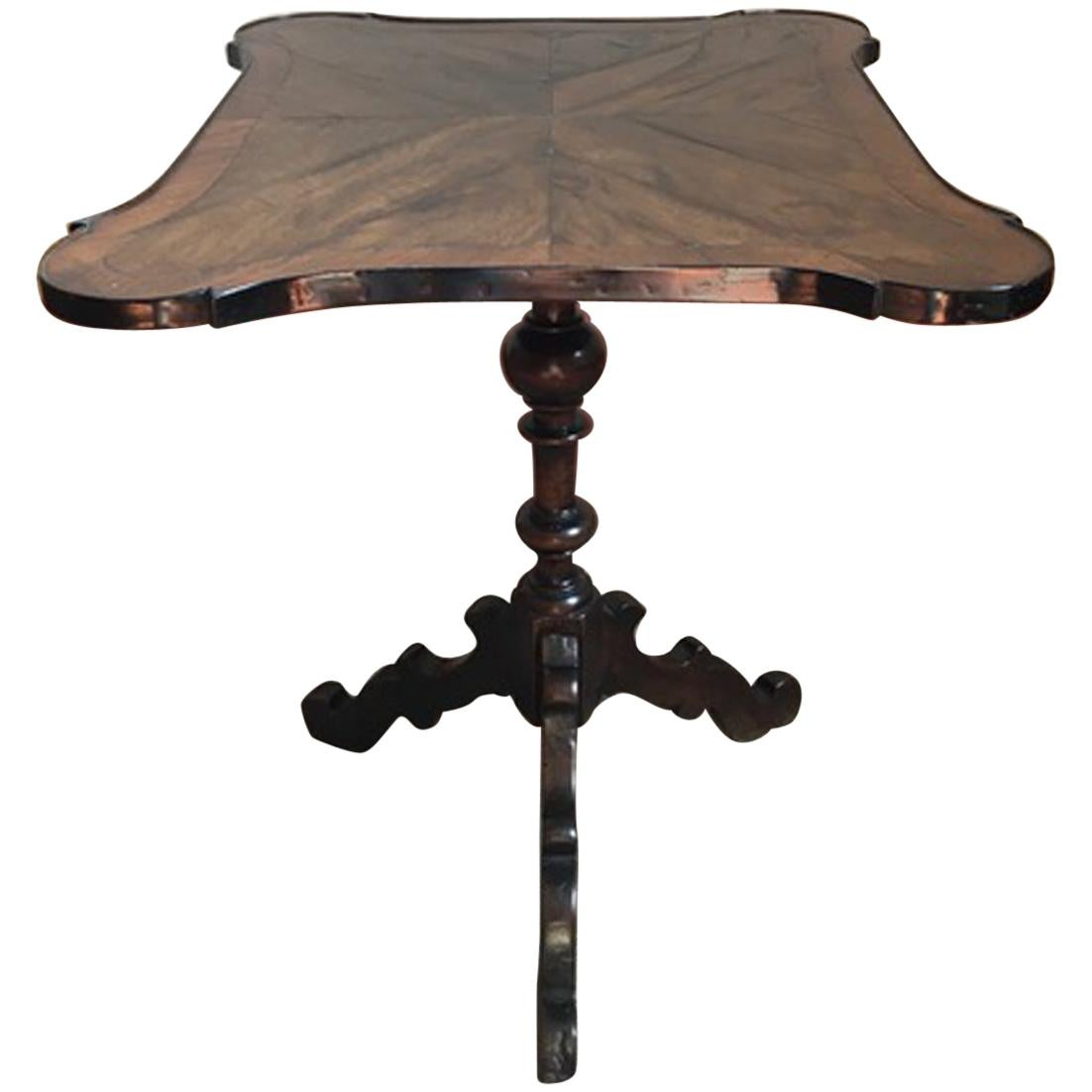 Italy Early 19th Century Table with Solid Ebonized Walnut Foot Inlaid Walnut Top