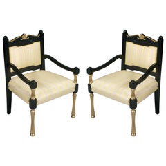 Italy Early 20th C  Chairs Armchairs Lacquered and Gilt Wood, Velvet