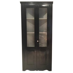 Italy Early 20th Century Kitchen Pine Wood Black Lacquered Corner Cupboard