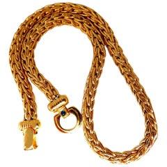 Italy Elongated Franco Linked Chain Toggle Necklace 14 Karat