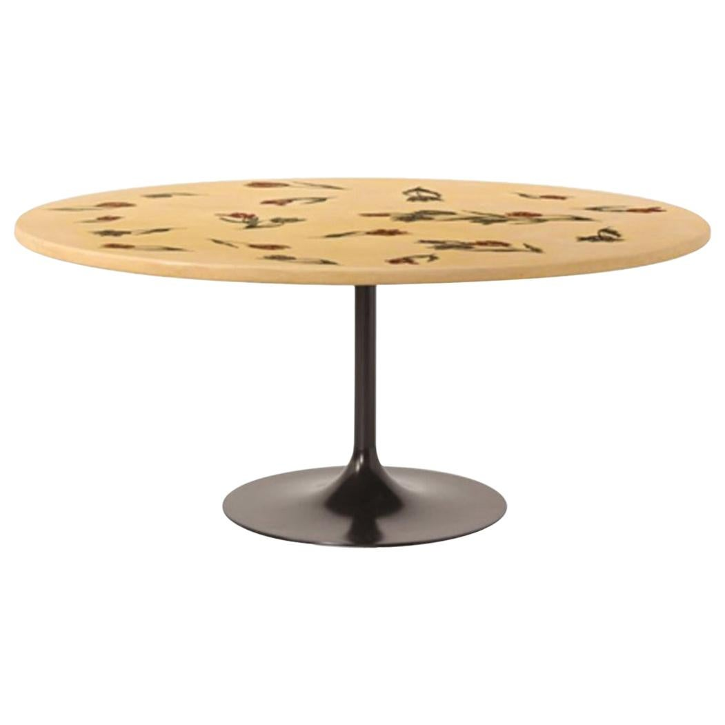 Italy 1950 Fornasetti Round Lacquered Dining Table Tulips Decoration