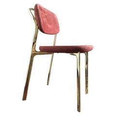 Italy Ghidini 1961 Brass Dining Chair Contemporary Design