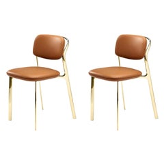 Italy Ghidini 1961 Pair Brass Dining Chairs Contemporary Design
