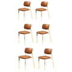 Italy Ghidini 1961 Set 6 Brass Dining Chairs Contemporary Design