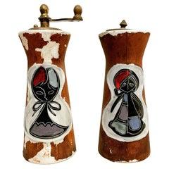 Italy Leather Salt Shaker & Pepper Set Raymor & Marcello Fantoni Inspired, 1960s