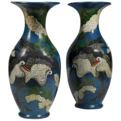Italy Mid-18th Century Pair of Lacquered Blue Vases with Herons and Flowers