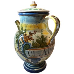 Italy Mid-18th Century Pharmacy Ceramic Carafe in Yellow Blue with Landscape