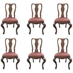 Italy Mid-18th Century Set Six Wooden Dining Chairs Hand Carved