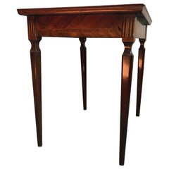 Italy Mid-18th Century Walnut Inlaid Bedside or Side Table with Drawer