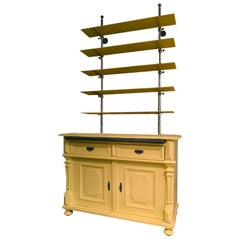 Italy Mid-19th Century Yellow Wood Buffet with Glass Shelves in French Style
