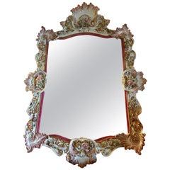 Italy Mid-20th Century Capodimonte Porcelain Mirror with Flowers
