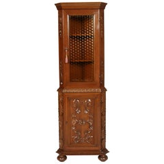 Italy Midcentury Corner Cupboard Renaissance by Michele Bonciani Carved Walnut