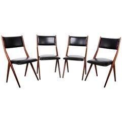 Italy Midcentury Set of 4 Fabulous Borsani Italian Dining Chairs, 1950s