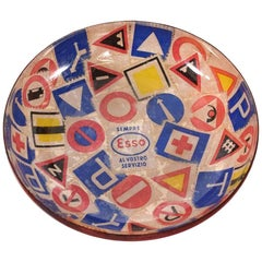 Italy Modern Pop Art ESSO Lacquered Copper Catchall Decorative Dish Bowl, 1950s
