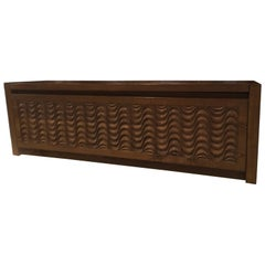Italy Officina Rivadossi Oak Blanket Chest Post Modern Design 1990
