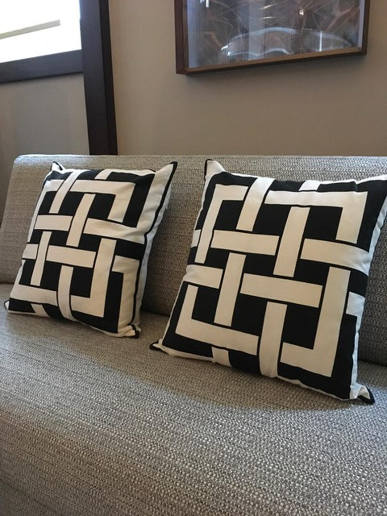 Italy pair of pillows in geometric black and white cotton print in modern style