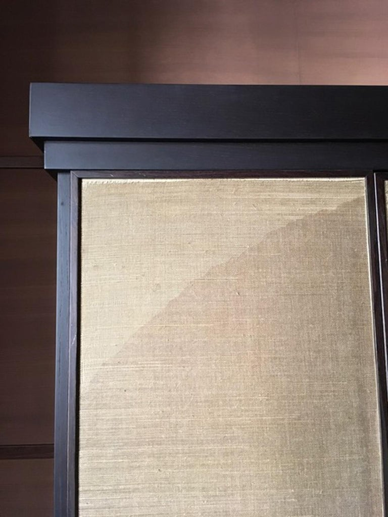 Italy Pair of Postmodern Brown Oak Cabinet with Rafia Panels and Bronze Handles For Sale 3