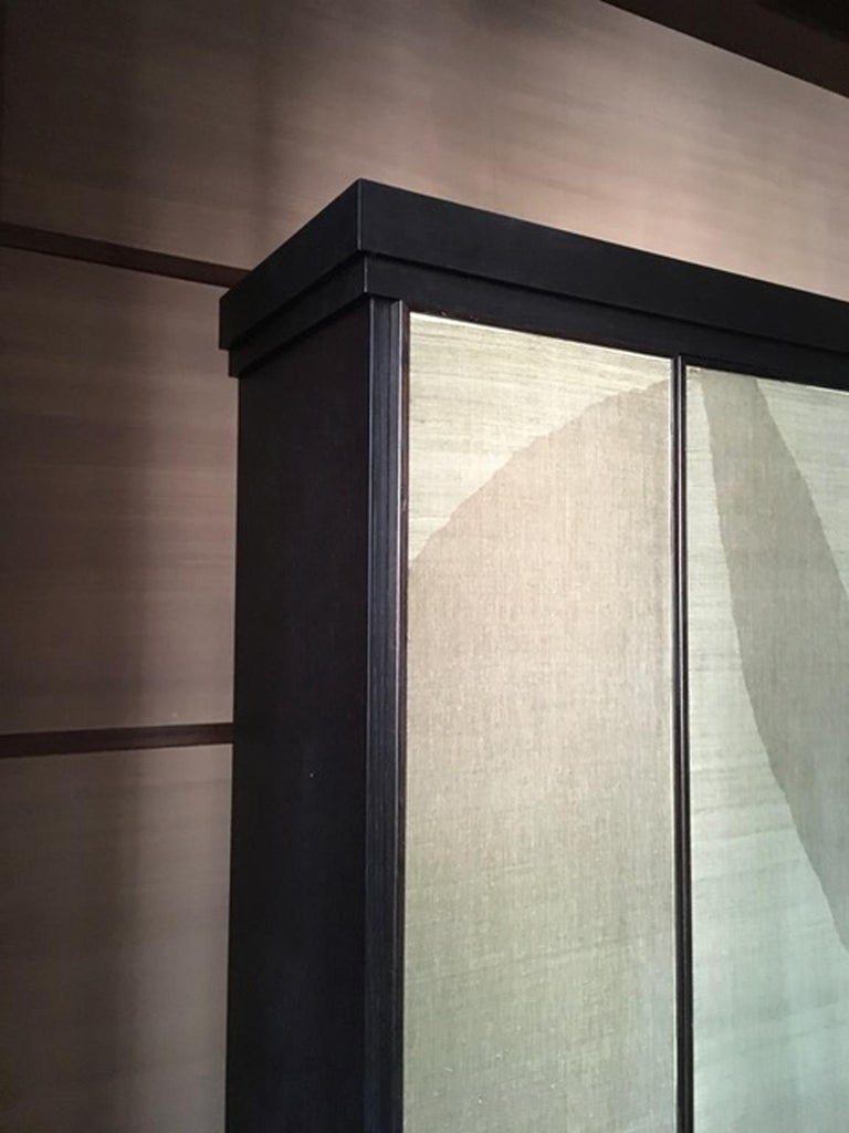 Italy Pair of Postmodern Brown Oak Cabinet with Rafia Panels and Bronze Handles For Sale 4