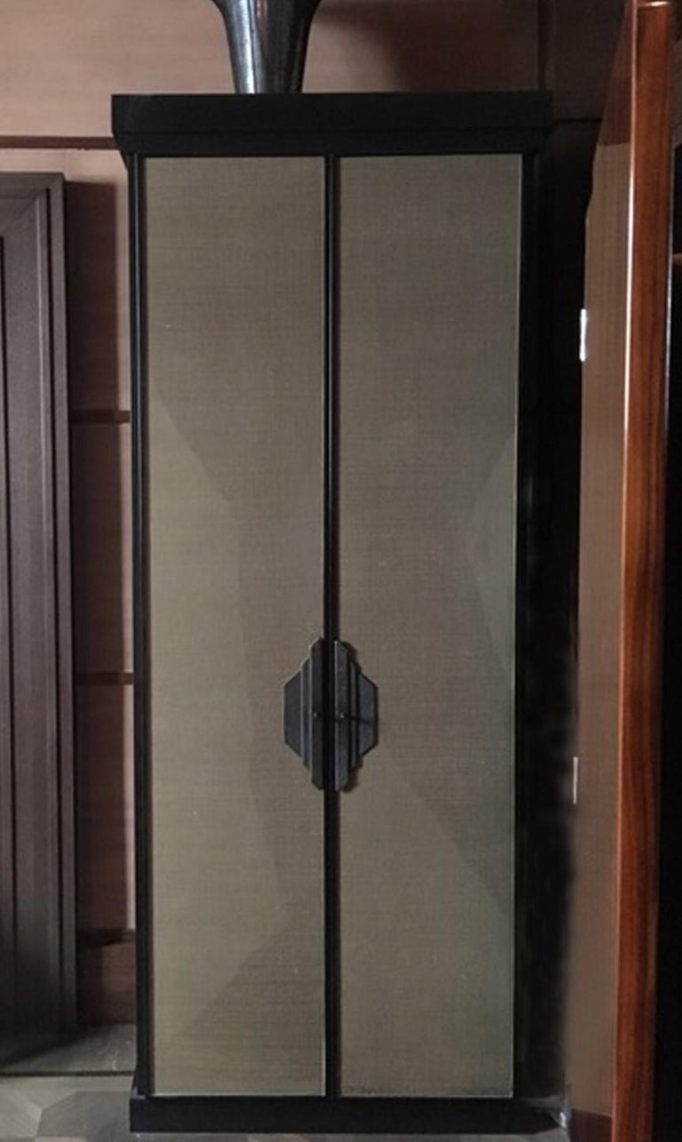 Italy Pair of Postmodern Brown Oak Cabinet with Rafia Panels and Bronze Handles For Sale 1