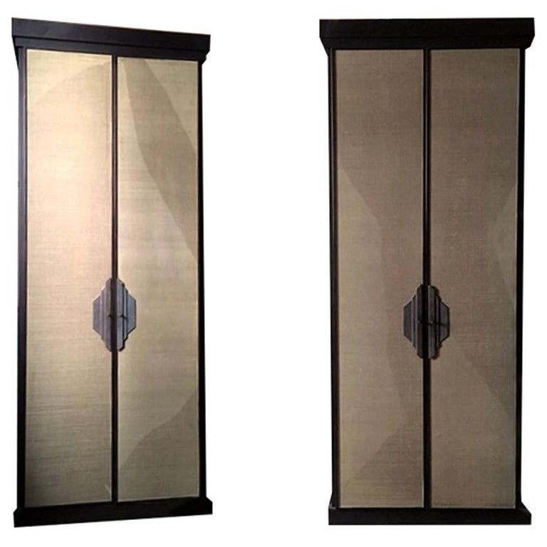 Italy Pair of Postmodern Brown Oak Cabinet with Rafia Panels and Bronze Handles For Sale