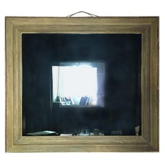 1960 Italy Post Modern Smoked  Mirror in Golden Wood Frame