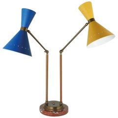 Italy Postmodern Style Brass Table Lamp with Painted Metal Shades Yellow Blue