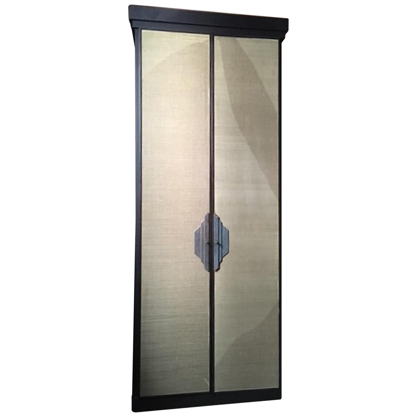 Italy Postmodern Dark Oak Cabinet with Raffia Panels and Bronze Handles