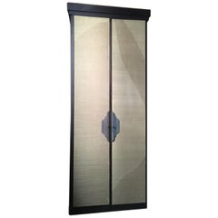 Italy Postmodern Dark Oak Cabinet with Raffia Panels and Bronze Handles