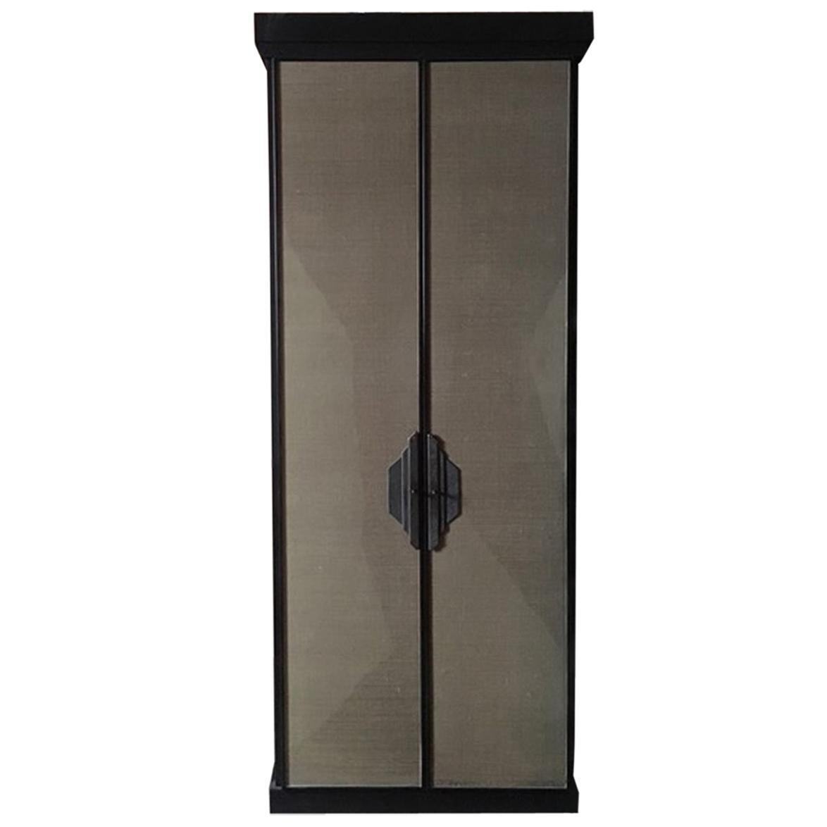 Italy Postmodern Dark Oak Wood Cabinet with Raffia Panels and Bronze Handles